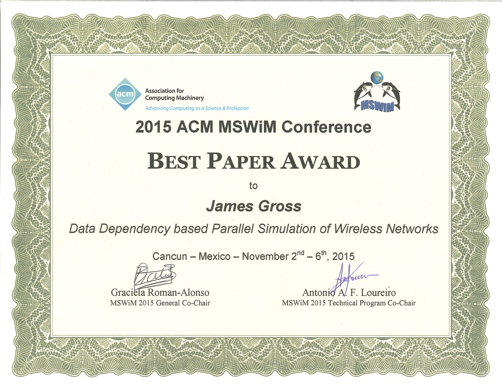 acm best thesis award This award recognizes the very best reasonably active participant in the acm sigchi the sigchi outstanding dissertation award will be given annually with.